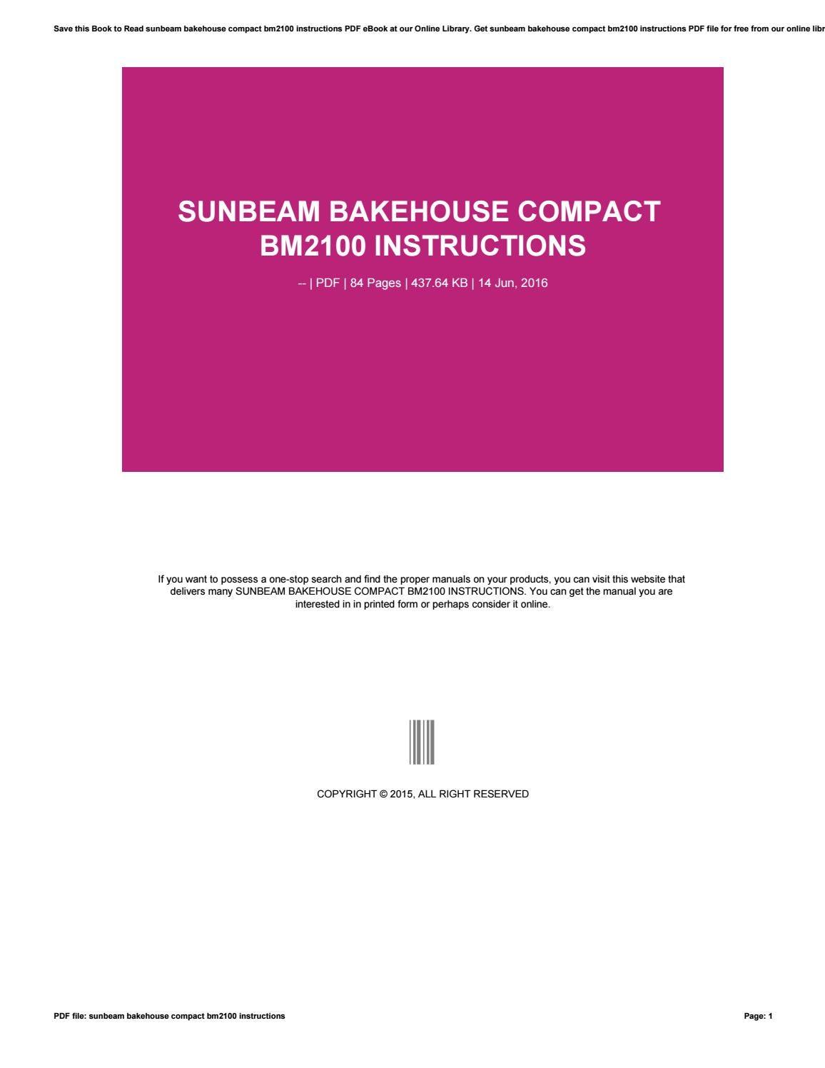 sunbeam bakehouse compact instructions