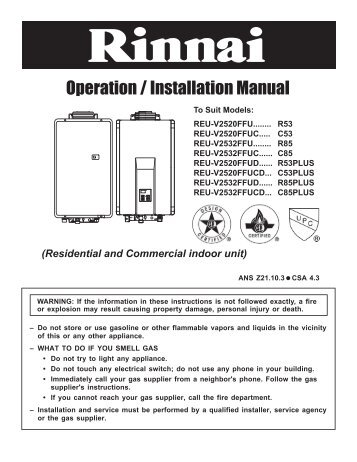 richmond tankless water heater installation instructions