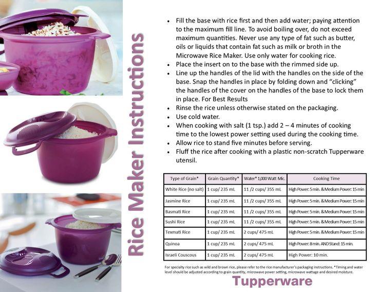 tupperware rice steamer instructions