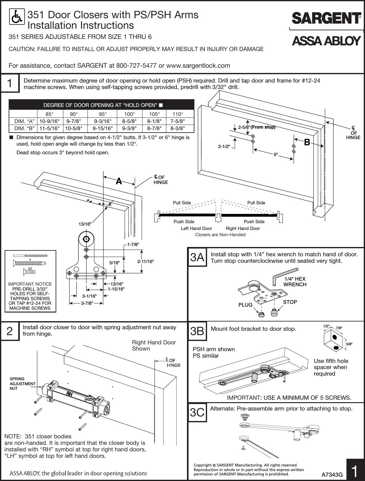 sargent 351 door closer installation instructions