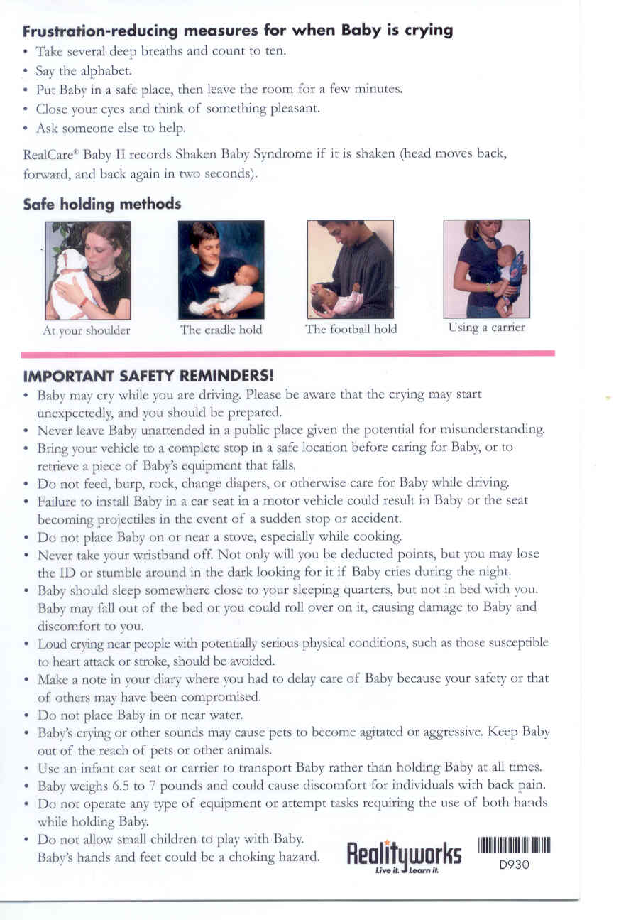 real care baby 3 instructions