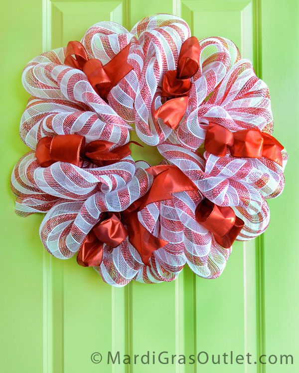 deco mesh candy cane wreath instructions