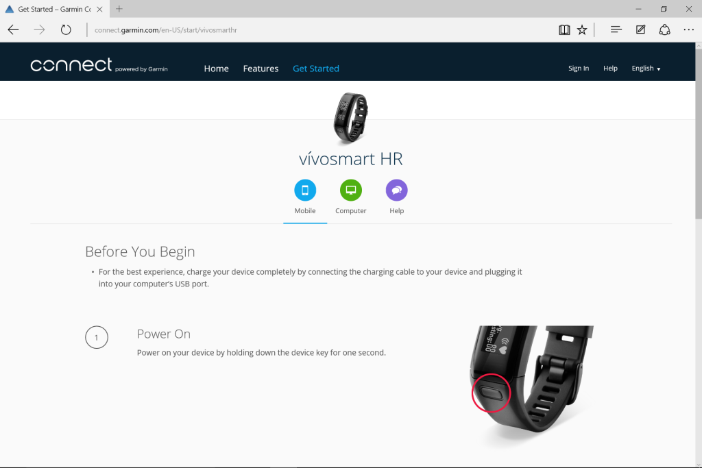 garmin vivosmart hr charging instructions