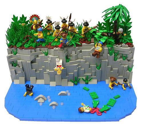 lego minecraft waterfall base instructions