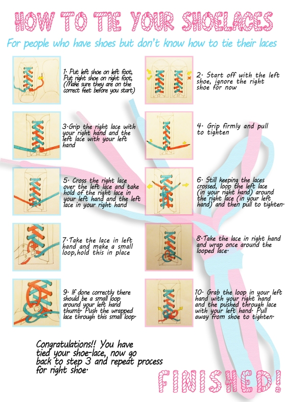 instructions on how to tie shoelaces