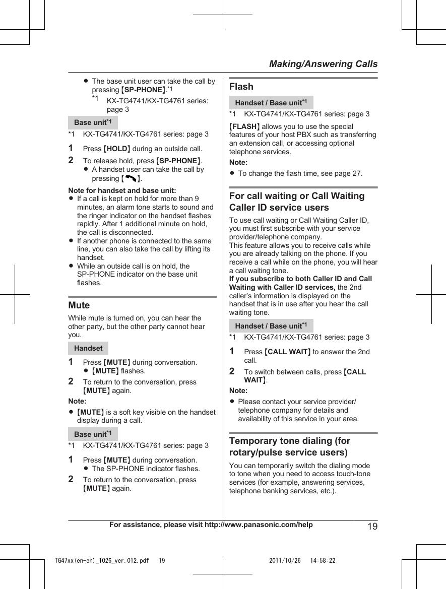 panasonic model kx tga470 instructions