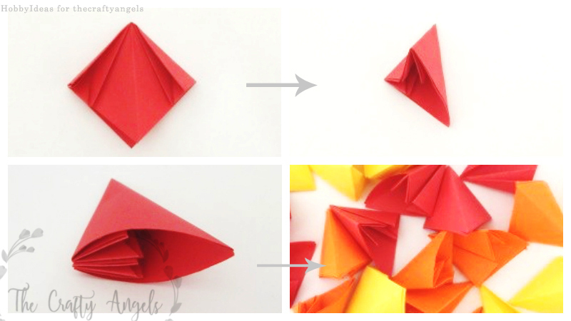 origami flower wreath instructions