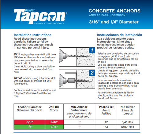 tapcon concrete screws instructions