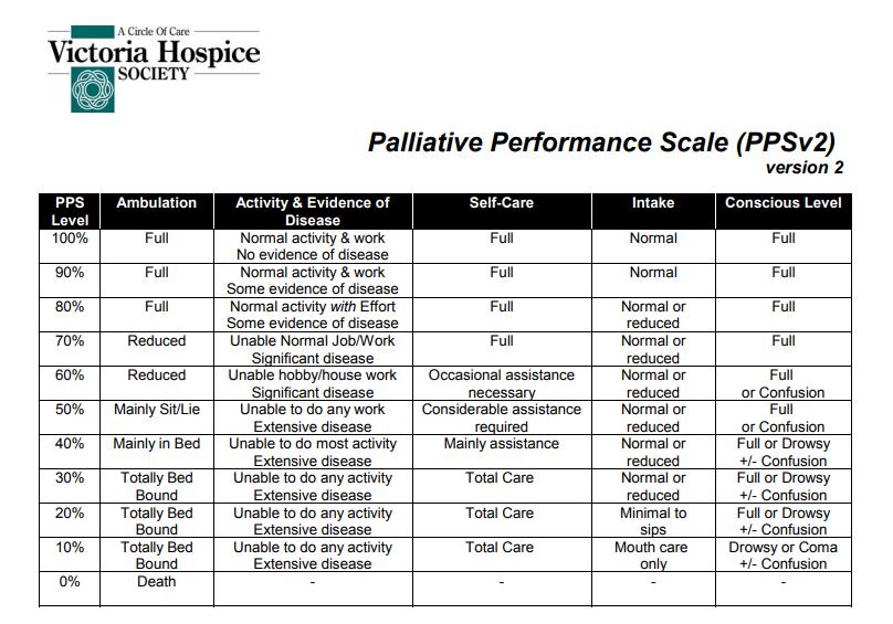 palliative performance scale instructions