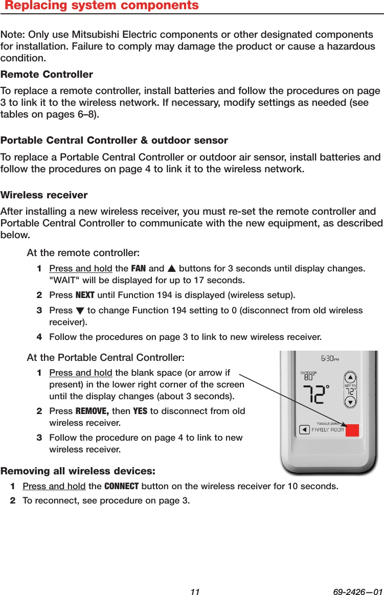 mitsubishi ductless split remote control instructions