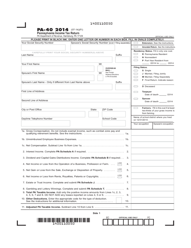 2014 tax return instructions