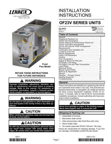 lennox humidifier installation instructions