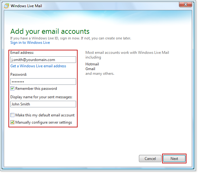 windows live mail instructions