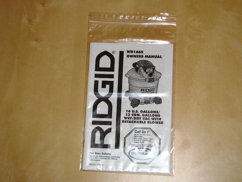 ridgid shop vac instruction manual
