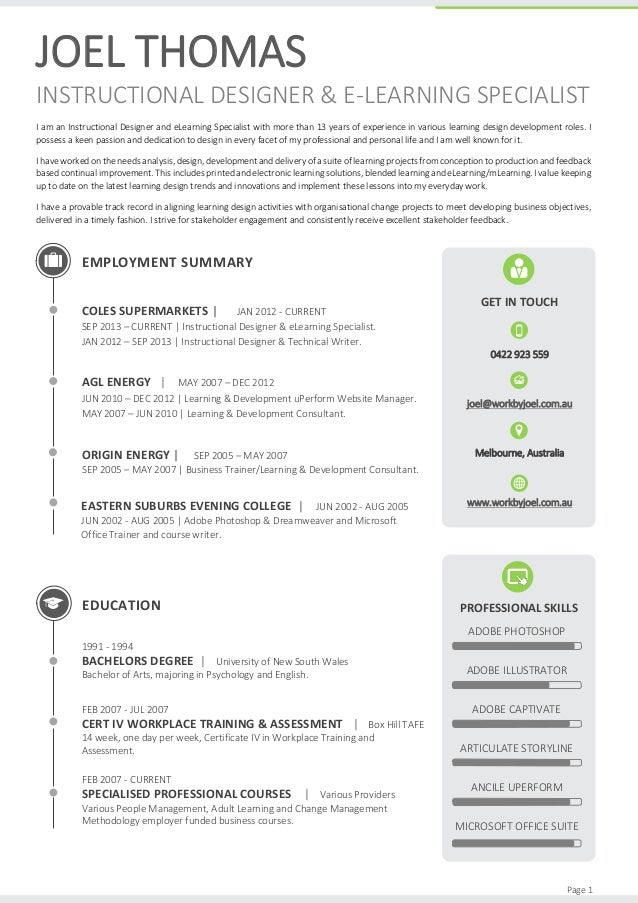 instructional design resume keywords