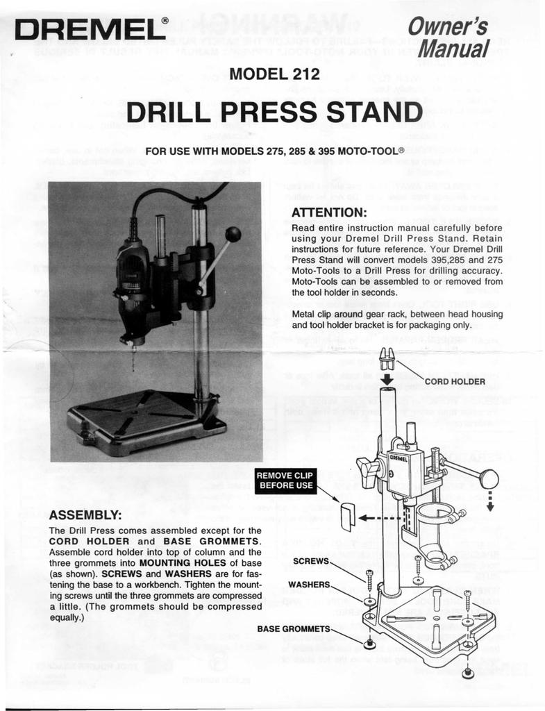 dremel drill press instructions