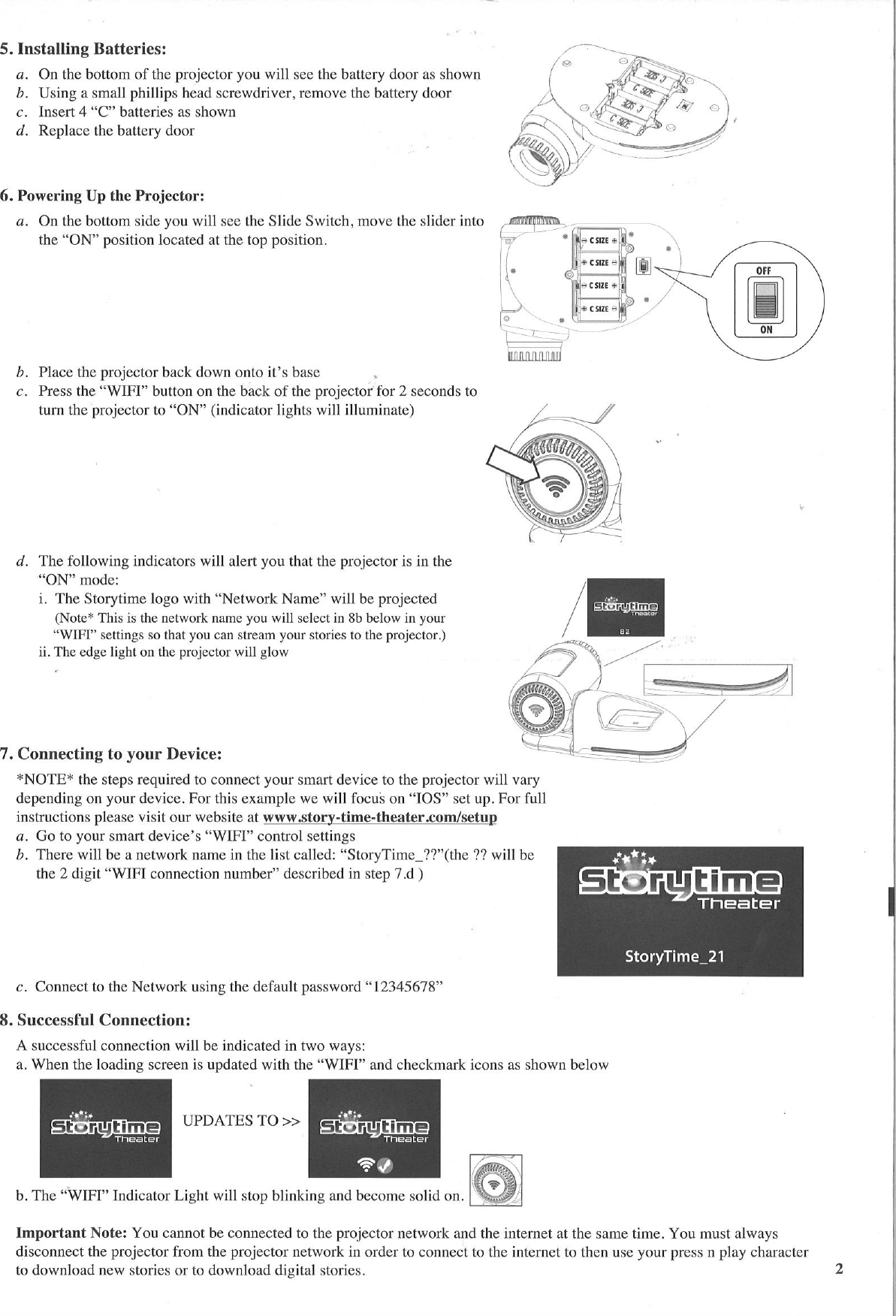 storytime theater projector instructions