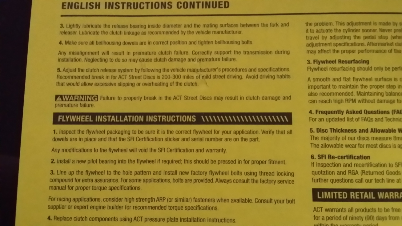 act clutch installation instructions