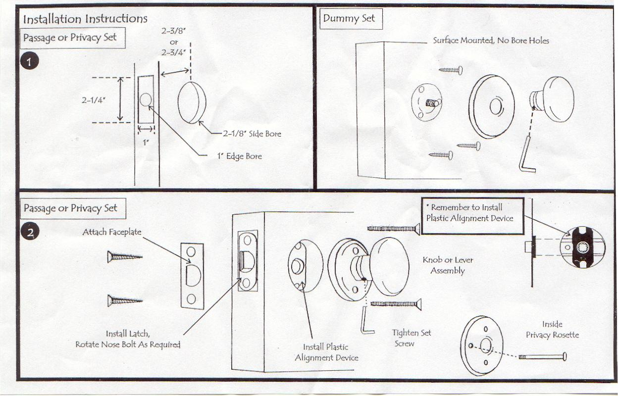 baldwin door knob installation instructions