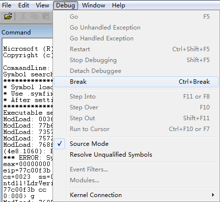 break instruction exception code 80000003