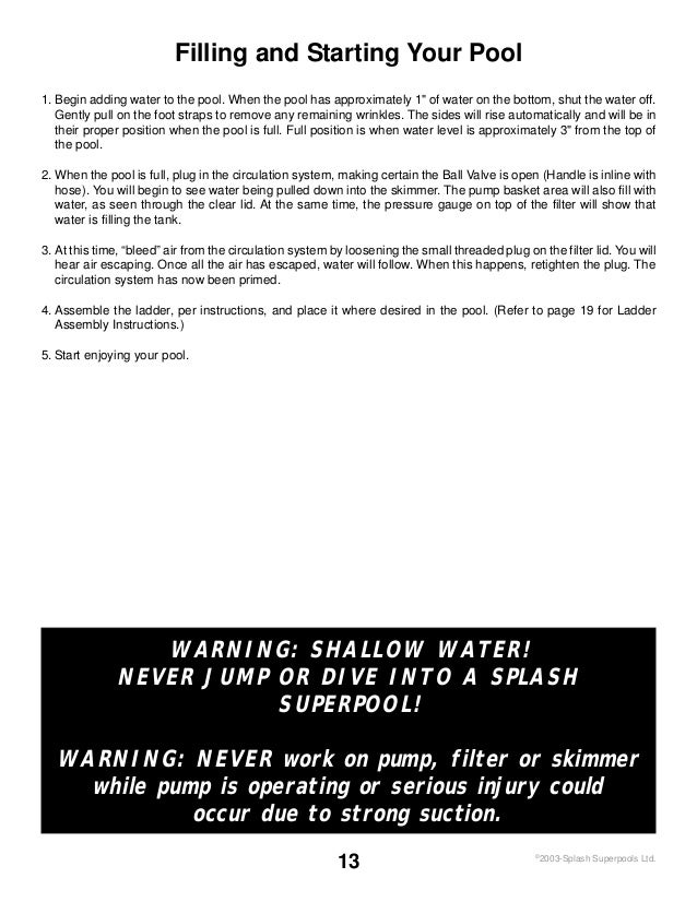 summer waves pool instructions