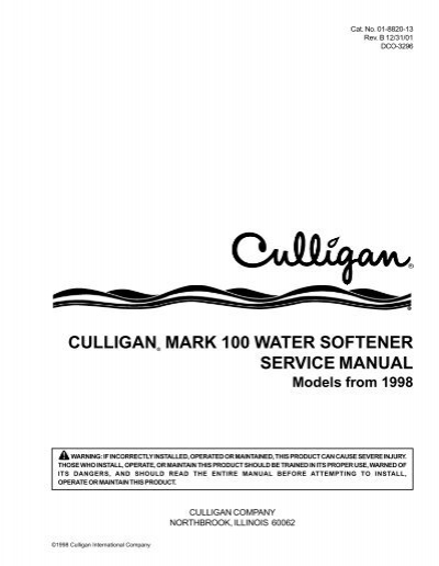 culligan water softener instruction manual