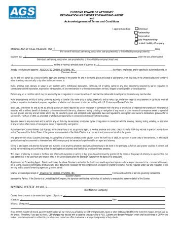 customs power of attorney form instructions