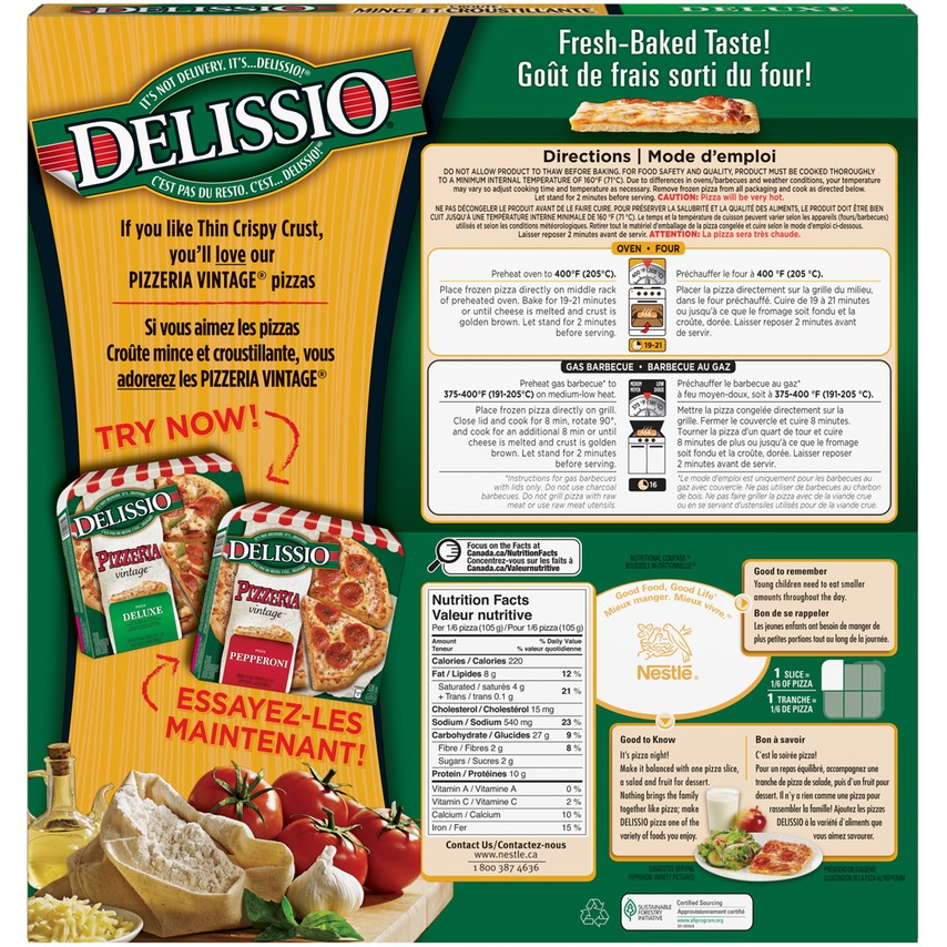 delissio thin crust pizza instructions