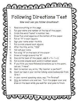 following instructions test for students