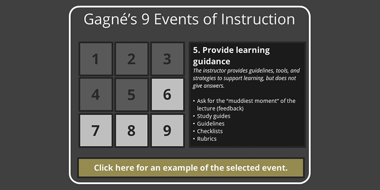 gagne nine events of instruction examples