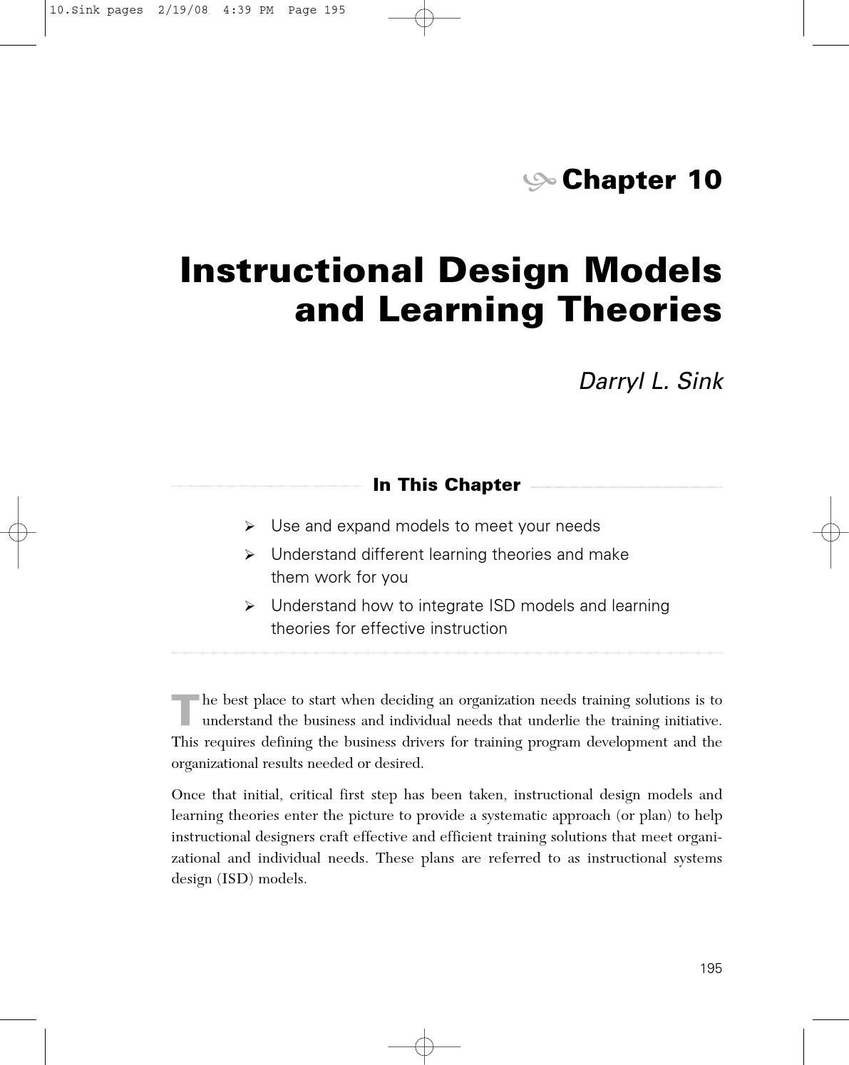 instructional design theories and models