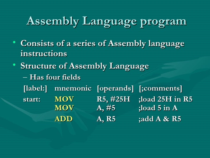 logic instructions assembly language