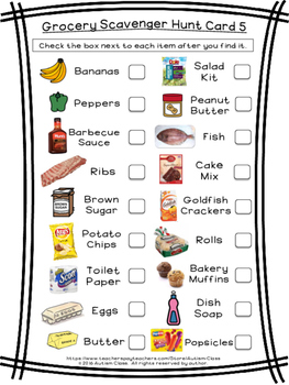 shopping list game instructions