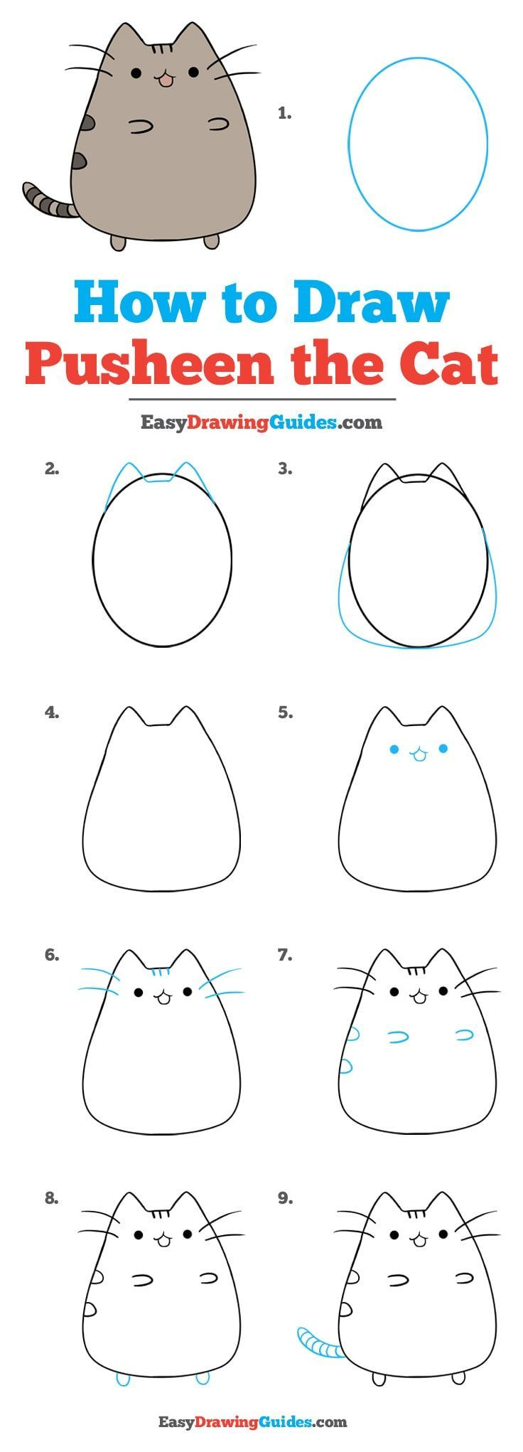 step by step instructions on how to draw a cat