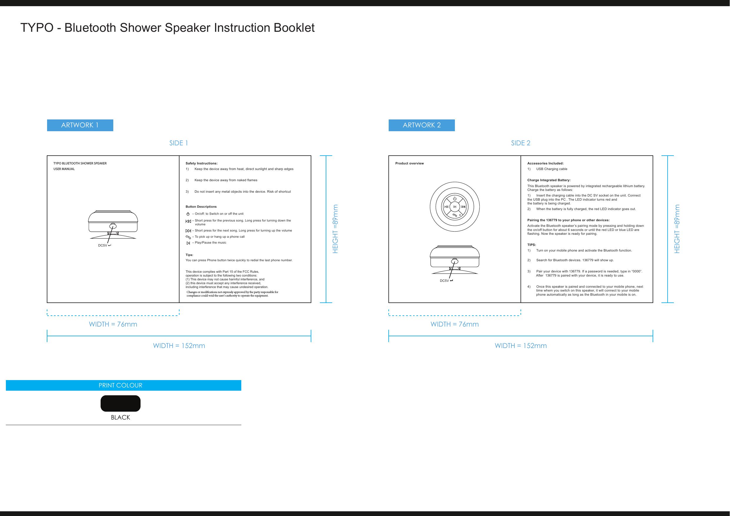 sylvania shower speaker instructions