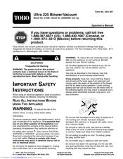 toro ultra blower vac instructions