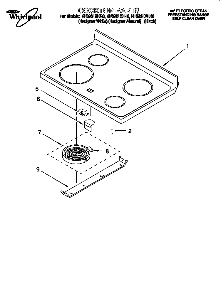 whirlpool electric cooktop installation instructions