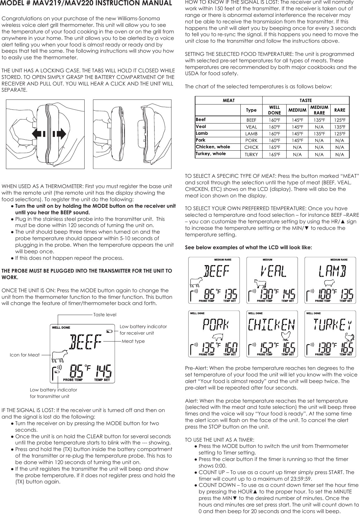 williams sonoma meat thermometer instructions